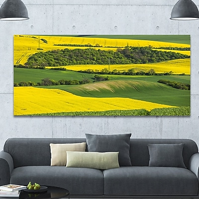 DesignArt 'Rapeseed Fields and Green Wheat' Photographic Print on Wrapped Canvas