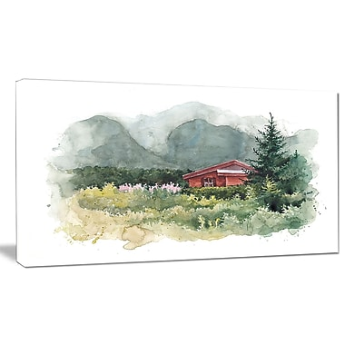 DesignArt 'Watercolor House in Mountains' Painting Print on Wrapped Canvas; 20'' H x 40'' W x 1'' D