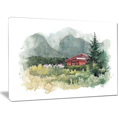 DesignArt 'Watercolor House in Mountains' Painting Print on Wrapped Canvas; 30'' H x 40'' W x 1'' D