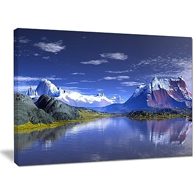 DesignArt '3D Rendered Mountains and Lake' Photographic Print on Wrapped Canvas