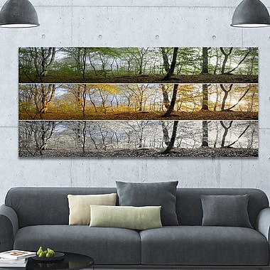 DesignArt 'Three Seasons Forest Panorama' Photographic Print on Wrapped Canvas