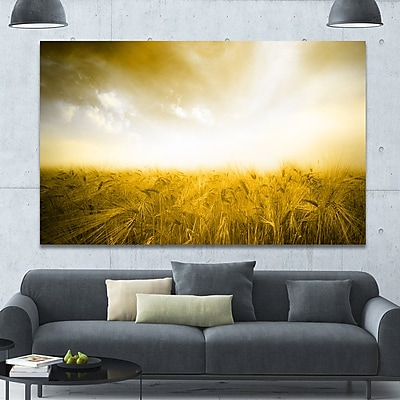 DesignArt 'Yellow Meadow under Bright Sun' Photographic Print on Wrapped Canvas