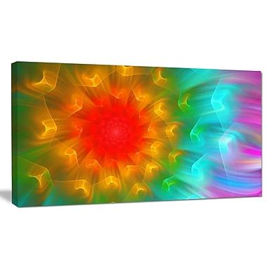 DesignArt 'Large Red Alien Fractal Flower' Graphic Art on Wrapped Canvas; 12'' H x 20'' W x 1'' D