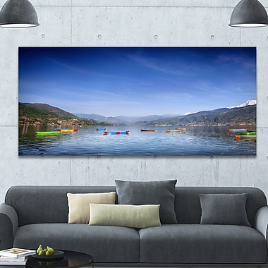 DesignArt 'Boats in Pokhara Lake' Photographic Print on Wrapped Canvas; 28'' H x 60'' W x 1.5'' D