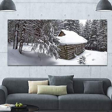 DesignArt 'House in Magic Winter Forest' Photographic Print on Wrapped Canvas