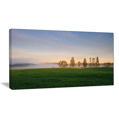 DesignArt 'Foggy Early Morning Panorama' Photographic Print on Wrapped Canvas