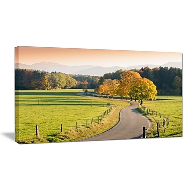 DesignArt 'Winding Country Road in the Fall' Photographic Print on Wrapped Canvas