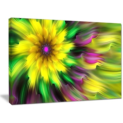 DesignArt 'Dance of Yellow Exotic Flower' Graphic Art on Wrapped Canvas; 30'' H x 40'' W x 1'' D