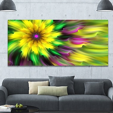 DesignArt 'Dance of Yellow Exotic Flower' Graphic Art on Wrapped Canvas; 28'' H x 60'' W x 1.5'' D