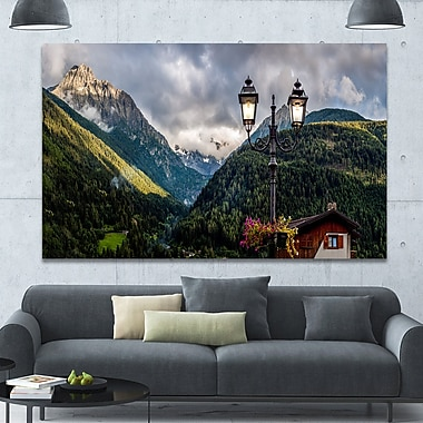 DesignArt 'Lamp Posts in Mountain Panorama' Photographic Print on Wrapped Canvas