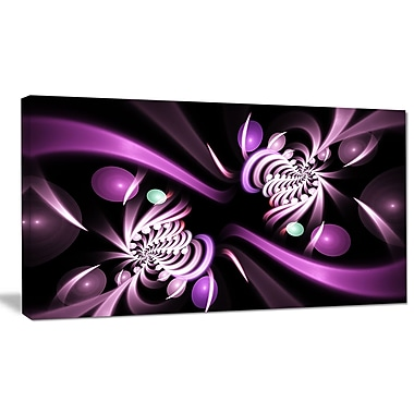 DesignArt 'Purple on Black 3D Surreal Art' Graphic Art on Wrapped Canvas; 12'' H x 20'' W x 1'' D