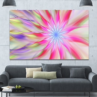 DesignArt 'Dance of Pink Exotic Flower' Graphic Art on Wrapped Canvas; 40'' H x 60'' W x 1.5'' D