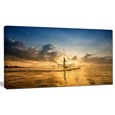 DesignArt 'Pakpra w/ Fisherman at Sunrise' Photographic Print on Wrapped Canvas