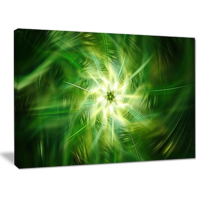 DesignArt 'Rotating Fractal Green Fireworks' Graphic Art on Wrapped Canvas; 30'' H x 40'' W x 1'' D