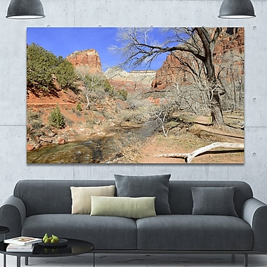 DesignArt 'Red Rock Mountain in Zion Park' Photographic Print on Wrapped Canvas