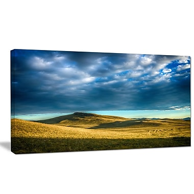 DesignArt 'Green Landscape under Cloudy Sky' Photographic Print on Wrapped Canvas