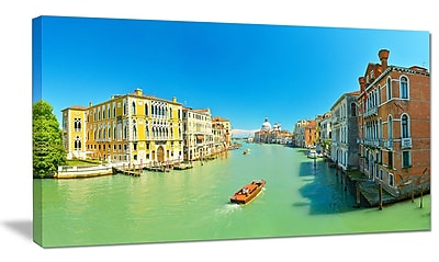 DesignArt 'Green Grand Canal Venice' Photographic Print on Wrapped Canvas; 16'' H x 32'' W x 1'' D
