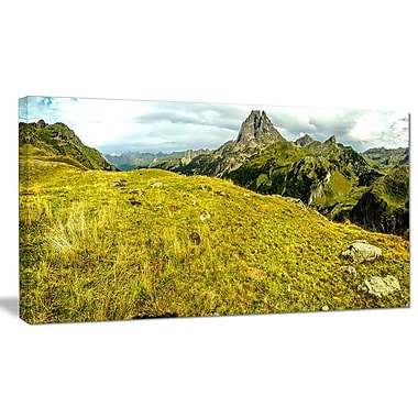 DesignArt 'Bright Green Mountain Panorama' Photographic Print on Wrapped Canvas