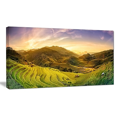 DesignArt 'Rice Fields on Terraced Panorama' Photographic Print on Wrapped Canvas