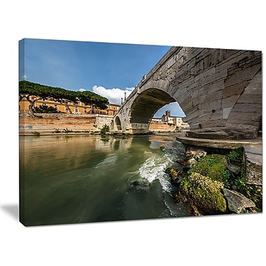 DesignArt 'Cestius Bridge Over Tiber River' Photographic Print on Wrapped Canvas