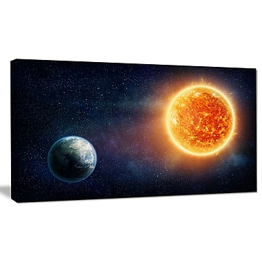 DesignArt 'Planet Earth and Sun' Graphic Art on Wrapped Canvas; 16'' H x 32'' W x 1'' D
