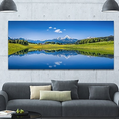 DesignArt 'Summer w/ Clear Mountain Lake' Photographic Print on Wrapped Canvas