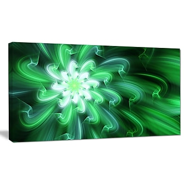 DesignArt 'Large Green Exotic Flower Petals' Graphic Art on Wrapped Canvas; 16'' H x 32'' W x 1'' D
