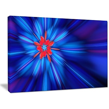 DesignArt 'Rotating Fractal Blue Fireworks' Graphic Art on Wrapped Canvas; 12'' H x 20'' W x 1'' D