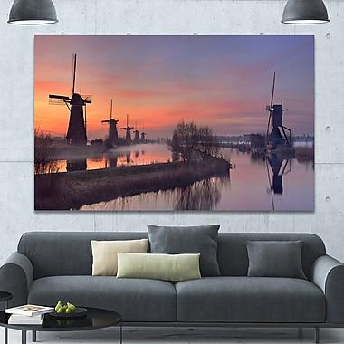 DesignArt 'Windmills at Sunrise Panorama' Photographic Print on Wrapped Canvas