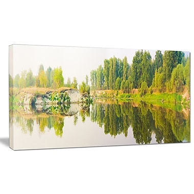 DesignArt 'River and Forest Panorama' Photographic Print on Wrapped Canvas; 20'' H x 40'' W x 1'' D