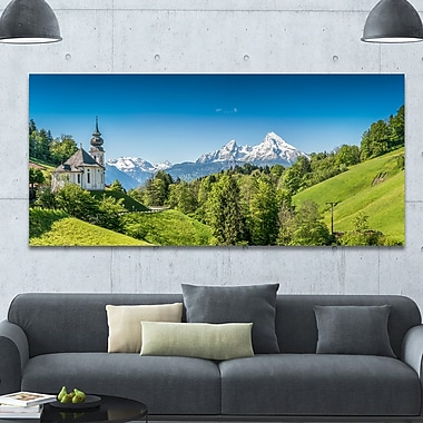 DesignArt 'Green Mountain View of Bavarian Alps' Photographic Print on Wrapped Canvas