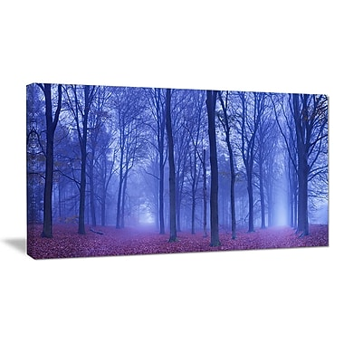 DesignArt 'Two Paths in Foggy Blue Forest' Photographic Print on Wrapped Canvas