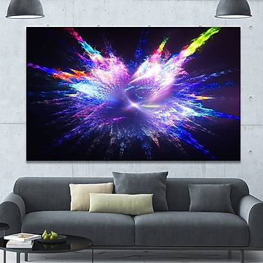 DesignArt 'Blue Explosion of Paint Drops' Graphic Art on Wrapped Canvas; 40'' H x 60'' W x 1.5'' D