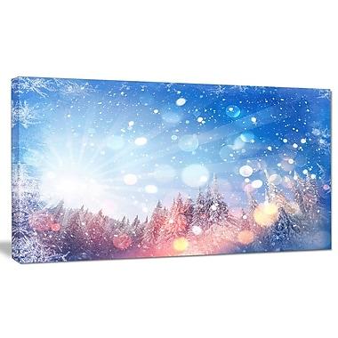 DesignArt 'Winter Trees Snowbound' Graphic Art on Wrapped Canvas; 16'' H x 32'' W x 1'' D