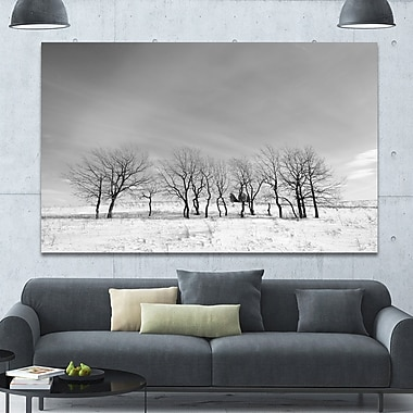 DesignArt 'Black and White Trees in Winter' Photographic Print on Wrapped Canvas