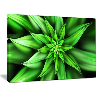 DesignArt 'Exotic Green Flower Petals' Graphic Art on Wrapped Canvas; 30'' H x 40'' W x 1'' D