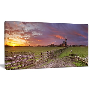 DesignArt 'Church of Den Hoorn on Texel Island' Photographic Print on Wrapped Canvas