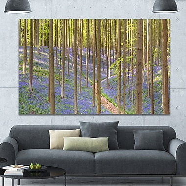 DesignArt 'Blooming Bluebell Forest Panorama' Photographic Print on Wrapped Canvas