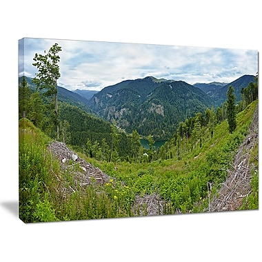 DesignArt 'Green Mountains Panorama' Photographic Print on Wrapped Canvas; 30'' H x 40'' W x 1'' D