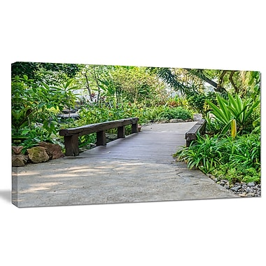 DesignArt 'Stone Pathway into Garden' Photographic Print on Wrapped Canvas; 12'' H x 20'' W x 1'' D
