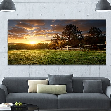 DesignArt 'Fenced Ranch at Sunrise' Photographic Print on Wrapped Canvas; 28'' H x 60'' W x 1.5'' D