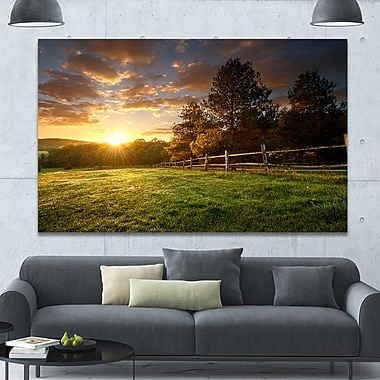 DesignArt 'Fenced Ranch at Sunrise' Photographic Print on Wrapped Canvas; 40'' H x 60'' W x 1.5'' D