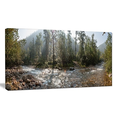 DesignArt 'Mountain River Panorama' Photographic Print on Wrapped Canvas; 20'' H x 40'' W x 1'' D