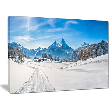 DesignArt 'Winter in Bavarian Alps Panorama' Photographic Print on Wrapped Canvas
