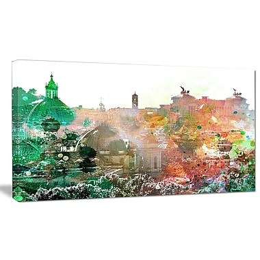 DesignArt 'Colorful City Watercolor' Photographic Print on Wrapped Canvas; 12'' H x 20'' W x 1'' D
