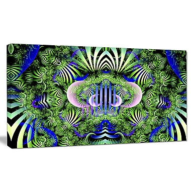 DesignArt 'Green Magical Fairy Pattern' Graphic Art on Wrapped Canvas; 20'' H x 40'' W x 1'' D