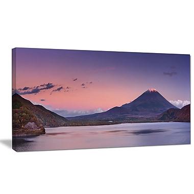 DesignArt 'Sunset at Mount Fuji and Lake Motosu' Photographic Print on Wrapped Canvas
