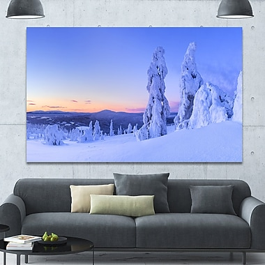 DesignArt 'Sunset over Frozen Trees' Photographic Print on Wrapped Canvas; 40'' H x 60'' W x 1.5'' D