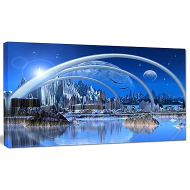 DesignArt 'Blue Fantasy Landscape' Graphic Art on Wrapped Canvas; 12'' H x 20'' W x 1'' D