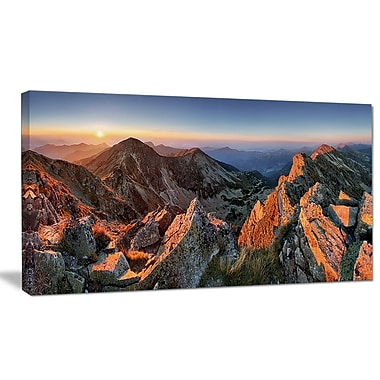 DesignArt 'Majestic Sunset in Fall Mountains' Photographic Print on Wrapped Canvas